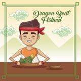Dragon boat festival cartoon design. Dragon boat festival cartoon icon vector illustration graphic Stock Photography