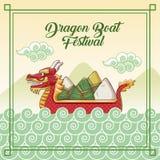 Dragon boat festival cartoon design. Dragon boat festival cartoon icon vector illustration graphic Royalty Free Stock Photo