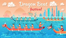 Dragon Boat Festival in China Promotion Poster. With people in long vessels on water and cityscape on horizon vector illustration Stock Image