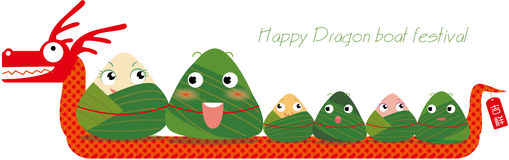 Dragon boat festival. Chinese traditional festivals ,Dragon boat festival dumplings vector illustration