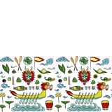 Dragon Boat Festival Doodle Seamless Border. Dragon Boat festival hand drawn doodle seamless border. Repeat wallpaper from chinese holiday objects isolated on Stock Image