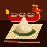 Dragon boat festival food rice dumpling and sauce. Vector illustration Stock Photo