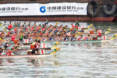 Dragon Boat Festival, Hong Kong. Dragon boat race at Tsim Sha Tsui East, Hong Kong. The Dragon Boat Festival, also often known as the Tuen Ng or Duanwu Festival Royalty Free Stock Images
