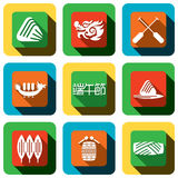 Dragon boat festival Icon design set Royalty Free Stock Photos