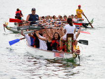 Dragon boat festival on lake zurich Royalty Free Stock Photography