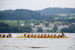 Dragon boat festival on lake zurich Stock Photo