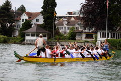 Dragon boat festival on lake zurich Royalty Free Stock Photo