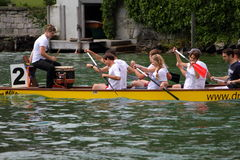 Dragon boat festival on lake zurich Stock Photos