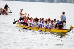 Dragon boat festival on lake zurich Royalty Free Stock Photos