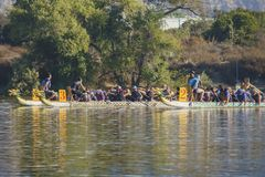 Dragon boat festival at Santa Fe Dam Recreation Area. Los Angeles County, OCT 7: Dragon boat festival on OCT 7, 2017 at Santa Fe Dam Recreation Area, Los Angeles Royalty Free Stock Image