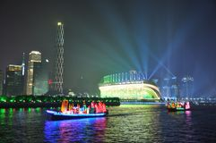 Haixinsha Stadium and Dragon Boat in Guangzhou China royalty free stock photo