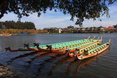 Dragon boat in the lake Stock Photos