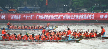 Dragon boat match. 2008 14/JUNE, pearl river, GuangZhou china. here has a match of dragon boat. this is a conventional match. dragon boat festival in china every Royalty Free Stock Images