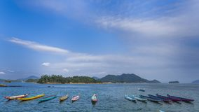 Dragon boat with nice sea view stock photography