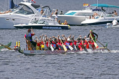 Dragon boat one team Stock Image