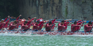 Dragon Boat paddling Royalty Free Stock Photo
