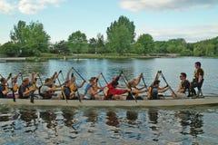 Dragon Boat Practice Ottawa Ontario Canada Stock Image