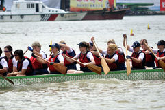 Dragon boat race. The 2nd Zhuhai International Dragon Boat Tournament has more than 800 athletes and 28 teams, including 12 international teams from Russia, UK Royalty Free Stock Photography