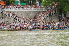 Dragon Boat Race. Photo taken on: June 5, 2011 The Dragon Boat Festival, china guangxi state holding dragon boat races。the peoples are watching the races stock images