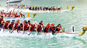 Dragon Boat Race. The just concluded dragion boat race in Dubai Yacht Club, the first ever dragon boat race in United Arab Emirates Stock Photos
