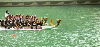 Dragon Boat Race. The just concluded dragion boat race in Dubai Yacht Club, the first ever dragon boat race in United Arab Emirates Royalty Free Stock Image
