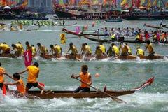 Dragon Boat Race in Hong Kong. HONG KONG - MAY 28: Dragon Boat Race on May 28, 2007 in Tuen Mun, Hong Kong Stock Images