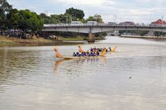 Dragon Boat Race during Loy Krathong festival Royalty Free Stock Photo
