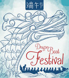 Dragon Boat Race Poster in Hand Drawn Style, Vector Illustration Royalty Free Stock Photo