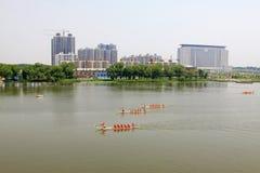 Dragon boat race scene in Chinese traditional Dragon Boat Festiv Stock Image