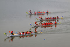 Dragon boat race scene in Chinese traditional Dragon Boat Festiv Stock Photo