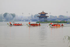 Dragon boat race scene in Chinese traditional Dragon Boat Festiv Stock Images