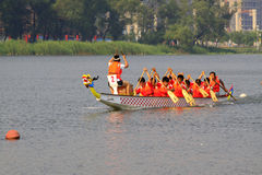 Dragon boat race scene in Chinese traditional Dragon Boat Festiv Royalty Free Stock Photos