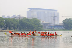 Dragon boat race scene in Chinese traditional Dragon Boat Festiv Royalty Free Stock Photo