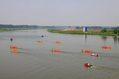 Dragon boat race scene in Chinese traditional Dragon Boat Festiv Royalty Free Stock Photography