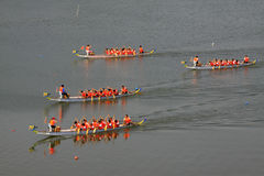 Dragon boat race scene in Chinese traditional Dragon Boat Festiv Royalty Free Stock Images