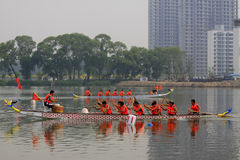 Dragon boat race scene in Chinese traditional Dragon Boat Festiv Royalty Free Stock Image