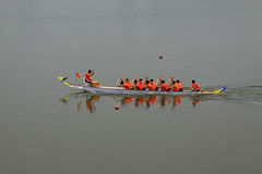 Dragon boat race scene in Chinese traditional Dragon Boat Festiv Stock Image