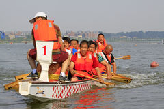 Dragon boat race scene in Chinese traditional Dragon Boat Festiv Stock Photography