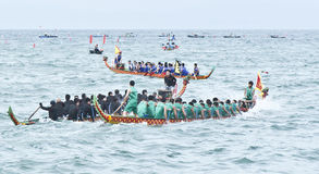 Dragon boat race at sea Stock Image