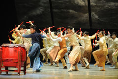 The Dragon Boat Race.-The third act of dance drama-Shawan events of the past Stock Photos