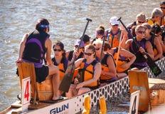 Dragon Boat Racers National Harbor Washington DC Royaltyfria Bilder