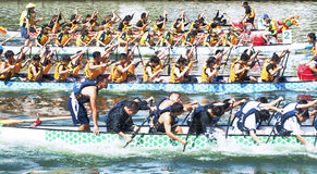 Dragon Boat Races. KAOHSIUNG, TAIWAN - JUNE 12: unidentified team compete in the 2013 Dragon Boat Races on the Love River on June 12, 2013 in Kaohsiung Stock Images