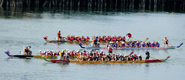Dragon Boat Races at Victoria, British Columbia. Dragon boat races are a popular annual event held during the Dragon Boat Festival in the summer Stock Images
