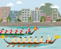 Dragon boat racing on the city harbour stock illustration