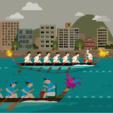 Dragon boat racing on the city harbour Stock Images