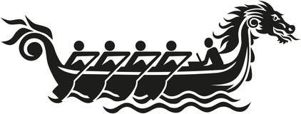 Dragon boat racing icon stock illustration