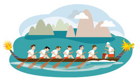 Dragon boat racing illustration Royalty Free Stock Image