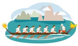 Dragon boat racing illustration Royalty Free Stock Image