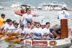 DRAGON BOAT RACING. The Racer arrived the Goal . Dragon Boat Racing taken on June 12th, 2013 at hong kong Stock Photos