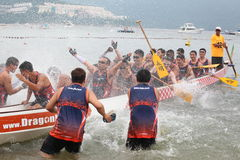 DRAGON BOAT RACING. The Racer arrived the Goal . Dragon Boat Racing taken on June 12th, 2013 at hong kong Royalty Free Stock Photography